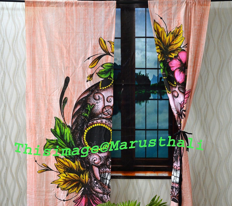 Marusthali Cortina de calavera rosa hippie hippie bohemio hecha a mano cortinas mandalas, incluye 2 cortinas de mandala, doble tapiz, cortinas y valores, cortina de tratamiento para ventanas vintage: Amazon.es: Hogar