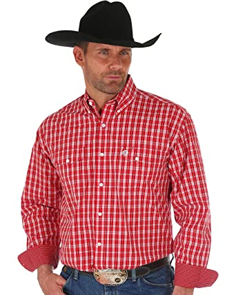 319e21c1 Wrangler Men's George Strait by Checker Plaid Long Sleeve Western Shirt Big  Red 3X
