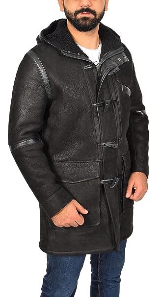 Hombre Piel de Carnero Duffle Abrigo Longitud 3/4 Encapuchado Invierno Anorak Bain Negro (