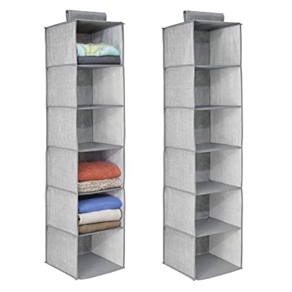 MDesign Long Soft Fabric Over Closet Rod Hanging Storage Organizer With 6  Shelves For Clothes,