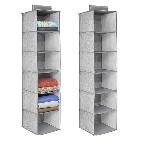 amazon com mdesign fabric hanging closet storage organizer for