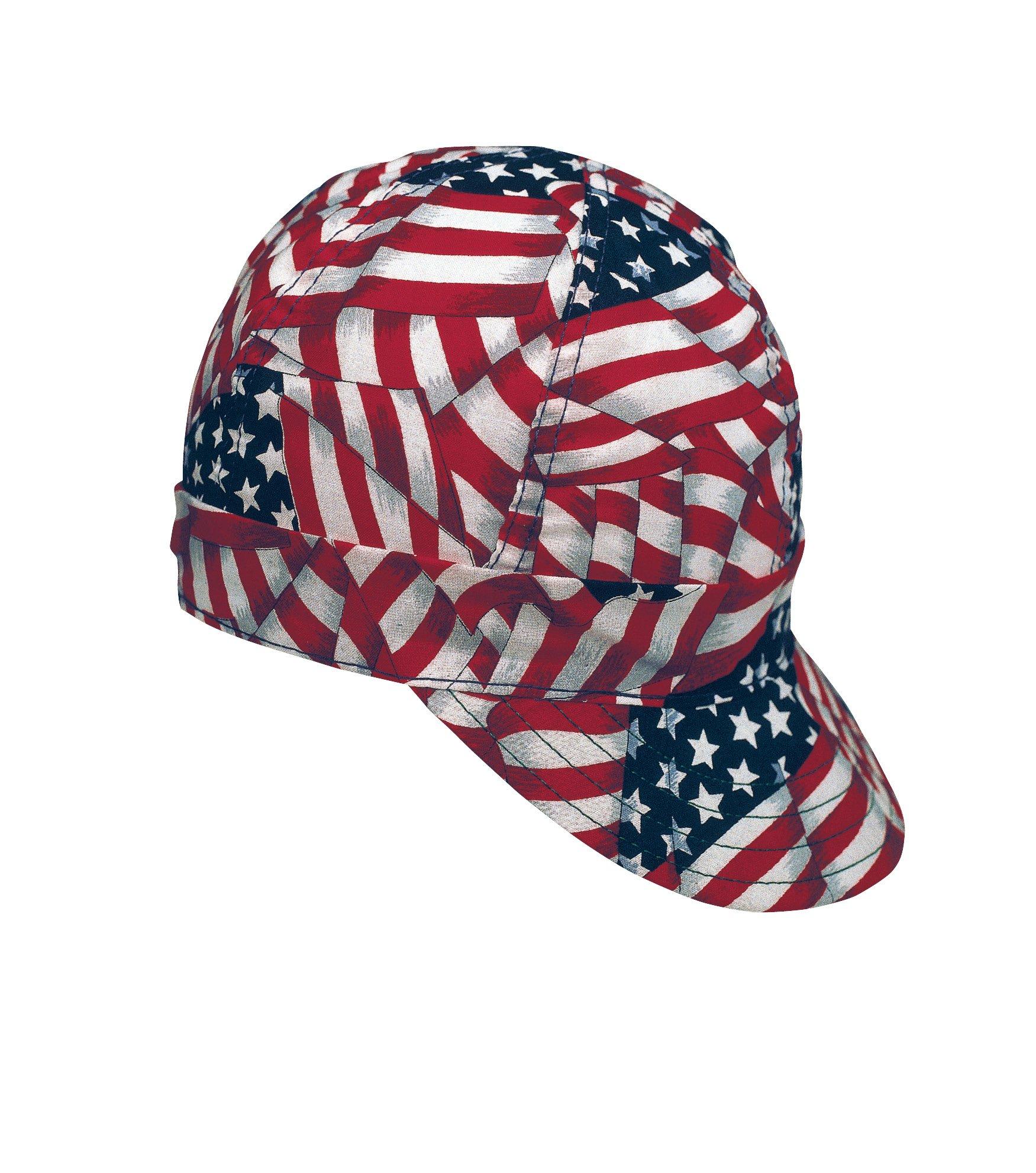 Mutual Industries 00336-00000-0007 Kromer USA Flag Style Welder Cap 7, Cotton, Length 5'', Width 6''