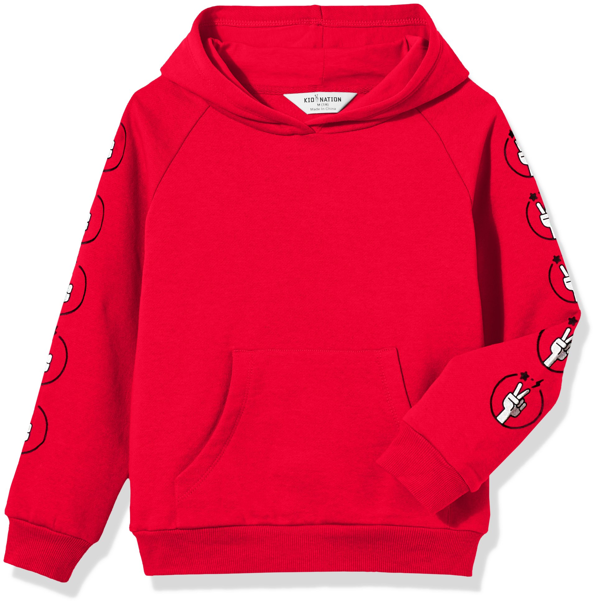 Kid Nation Kids' Solid Fleece Hooded Pullover Sweatshirt for Boys Or Girls M Red