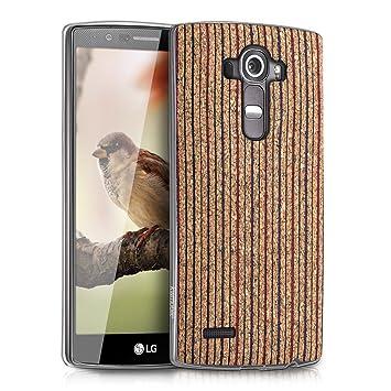 kwmobile Funda para LG G4 - Carcasa de TPU para móvil y diseño líneas Verticales en Rojo/Azul/marrón Claro