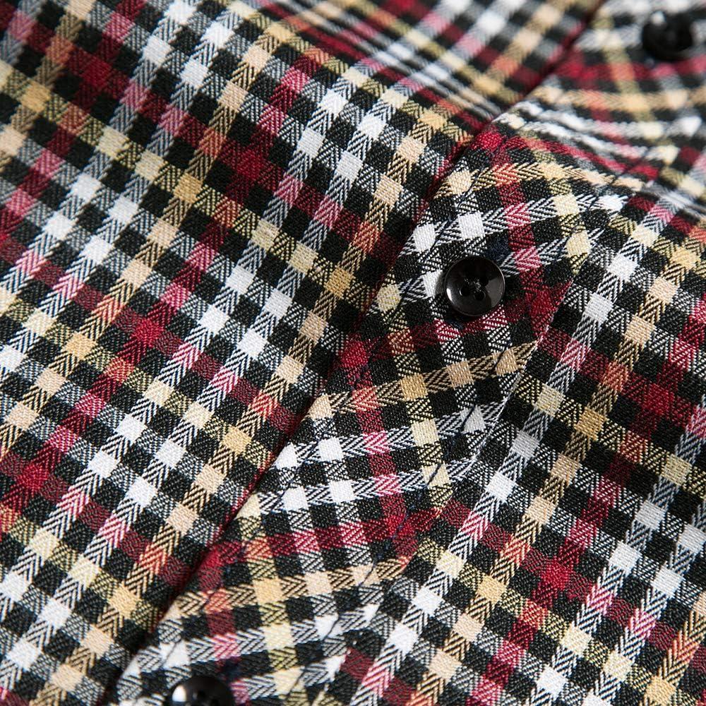 DOKKIA Mens Dress Long Sleeve Buffalo Plaid Checked Button Down Flannel Shirts