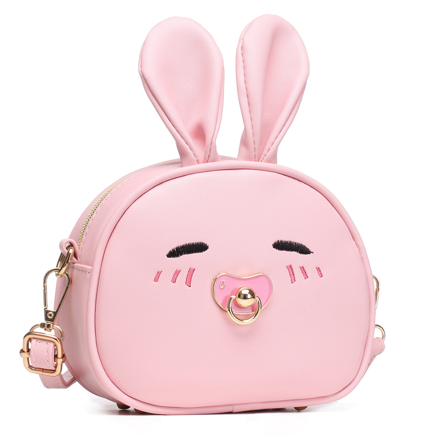 CMK Trendy Kids My First Purse for Toddler Kids Girls Cute Shoulder Bag Messenger Bags with Bunny Ear and Double Slide Zipper Novelty Birthday Gift (82011_Pink) by CMK Trendy Kids (Image #2)