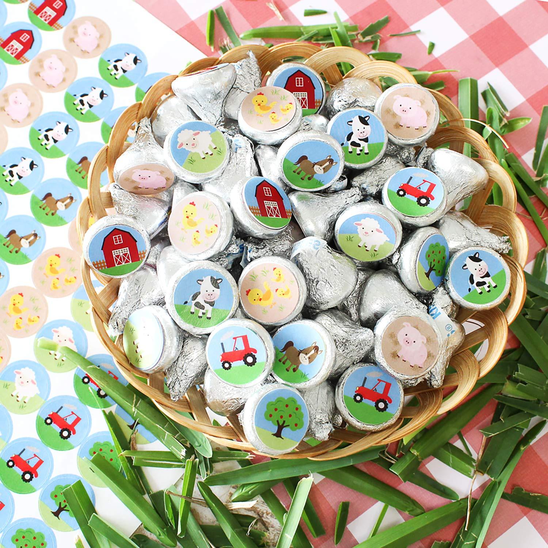 216 Stickers DISTINCTIVS Barnyard Farm Animals Birthday Party Favor Labels