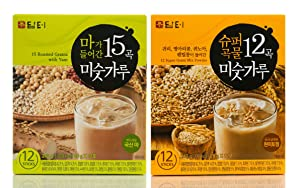 Damtuh Korean 15 Multi Grains Mix Powder with Yam (Misugaru) 12 Sticks + 12 Super Grain Mix Powder 12 Sticks