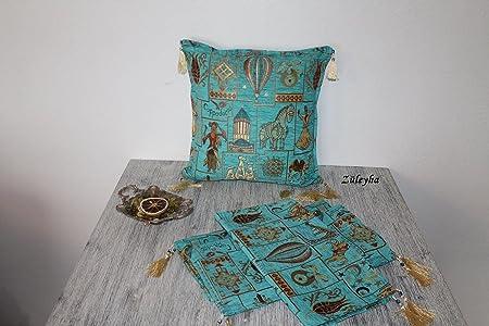 Züleyha Kissenbezug Kissenhülle Sitzkissen Kissen cushion cover orientalisch osmanische Tulple 45x45 cm (Türkis 065-captr)