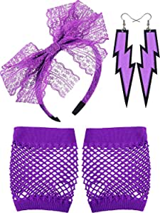 Neon Earrings Lightning Fingerless Fishnet Gloves and 80's Lace Headband Purple