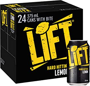 Lift Hard Hitting Lemon Soft Drink Multipack Cans, 24 x 375 ml