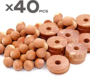 Cedar Home Cedar Blocks for Clothes Storage | Cedar Rings & Cedar Balls | Moth Repellent & Closet Freshener | 40 Pieces, 30 Cedar Rings & Bonus 10 Cedar Balls