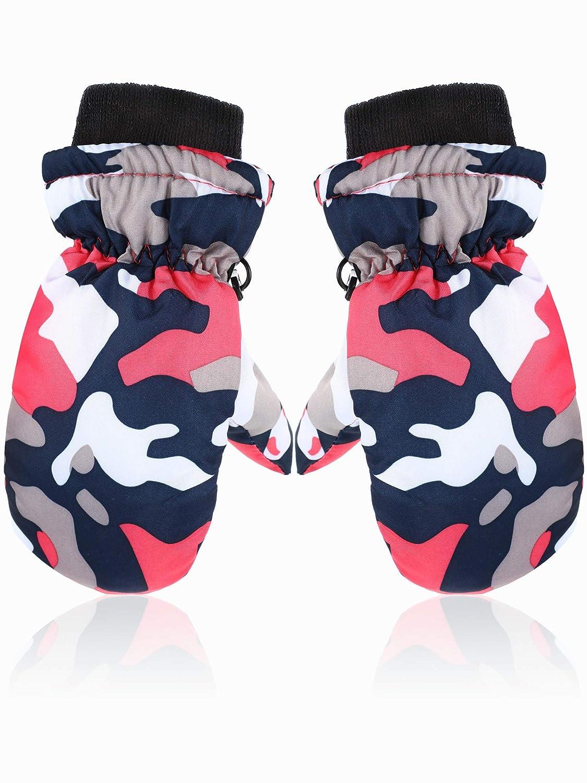 Snow Mittens Winter Ski Mittens Unisex Gloves Kids Waterproof Warm Cotton-lined