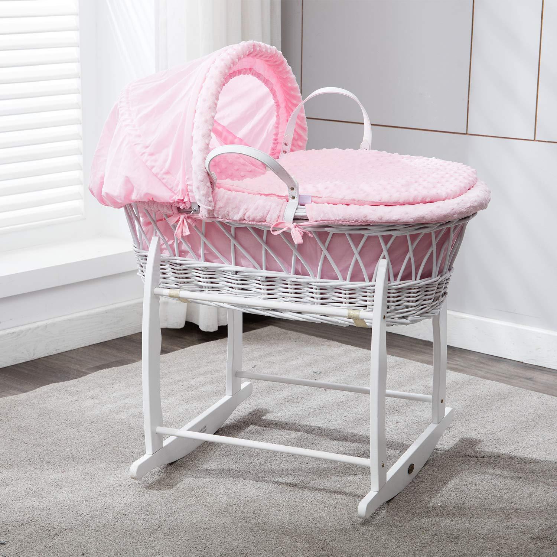 MCC Komplettset Moses Weidenkorb, Baby Korb, Stubenwagen, in rosa mit Matratze, Bezug und Schaukelgestell