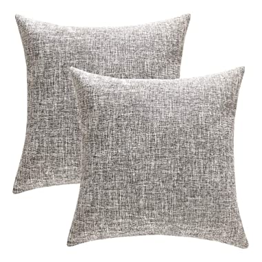 Anickal Set of 2 Solid Cotton Linen Decorative Throw Pillow Covers 18 x 18 Inch for Sofa Couch Décor (Gray)