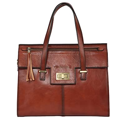 Banuce Vintage Leather Turn-lock Satchel Tote Handbag Shoulder Bag