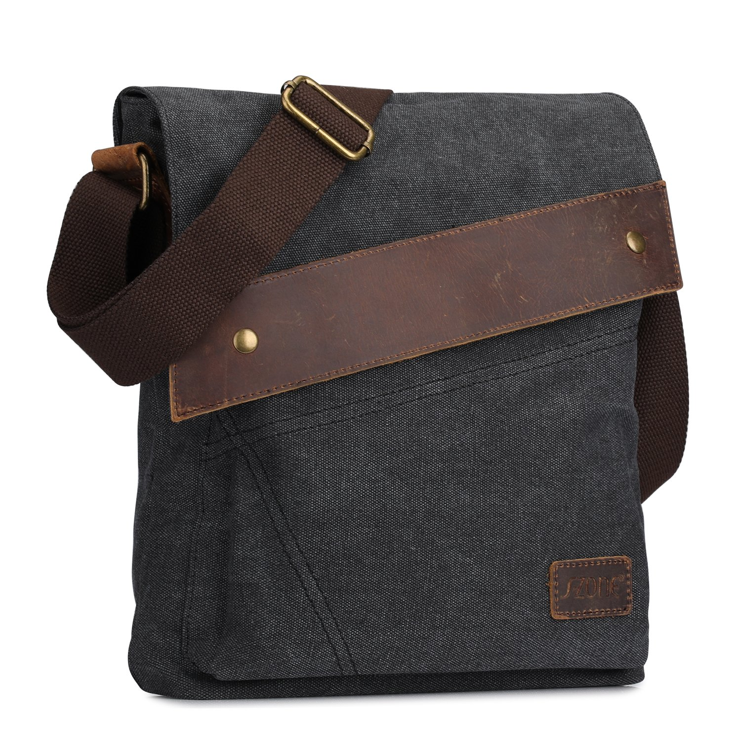 S-ZONE Vintage Lightweight Small Canvas Messenger Bag Travel Shoulder Crossbody Purse Dark (Gray) by S-ZONE (Image #3)
