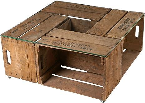 Vintage Mesa de Antiguos pera Cajas Incluye nítido Tablero de Cristal y Ruedas – Caja Madera Cajas de Mesa de más Empleadas Fruta – upcycling. 77 x 77 x 36 cm: Amazon.es: Juguetes y juegos