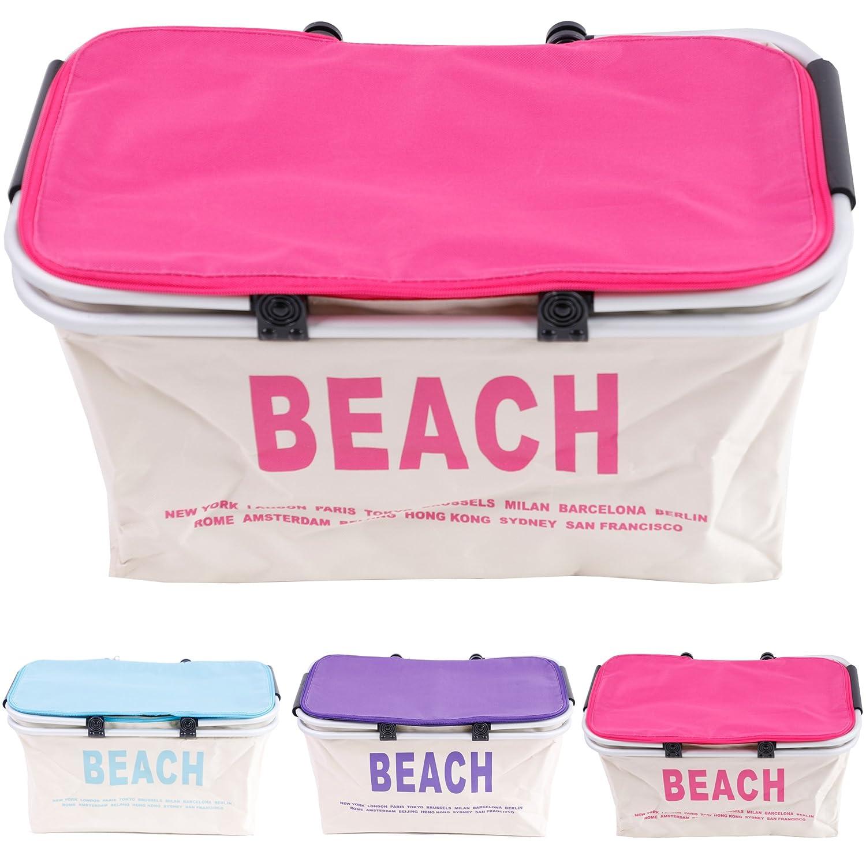 Thermo cesta de la compra bolsa nevera Beach in rosa/lila/turquesa ...