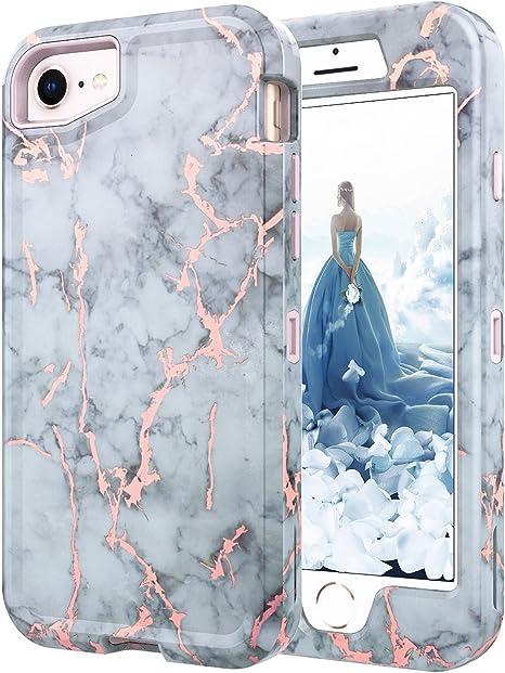 iPhone 7 Coque, iPhone 8 brillant or rose Marbre Blanc Gris Coque, Baisrke Heavy Duty hybride Full-body 3 couches Housse de protection en TPU souple ...