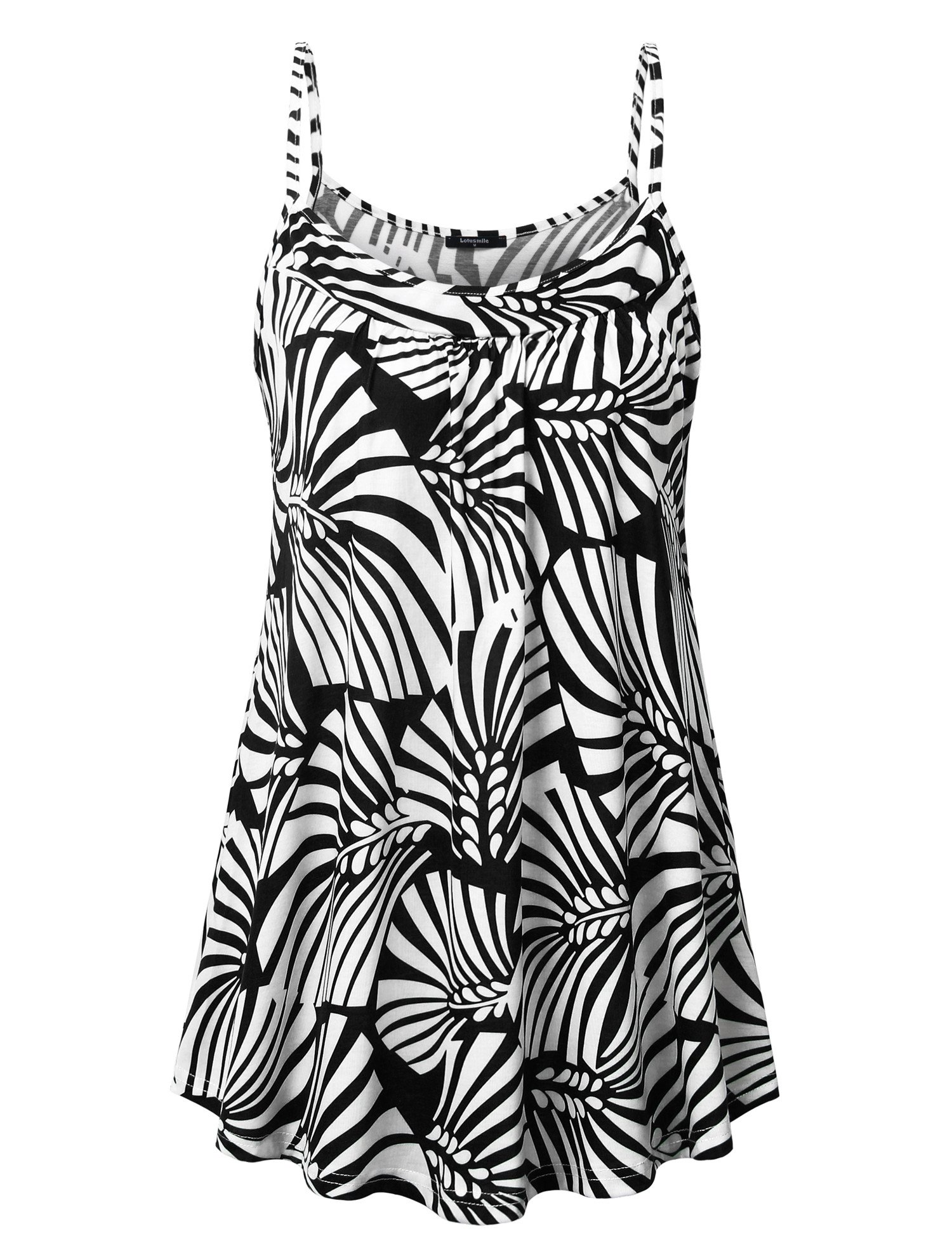 Lotusmile Women's Summer Basic Printed Tops Loose Fit Soft Spaghetti Strap Camisoles Swing Tunic Tank Multicolor Black/M