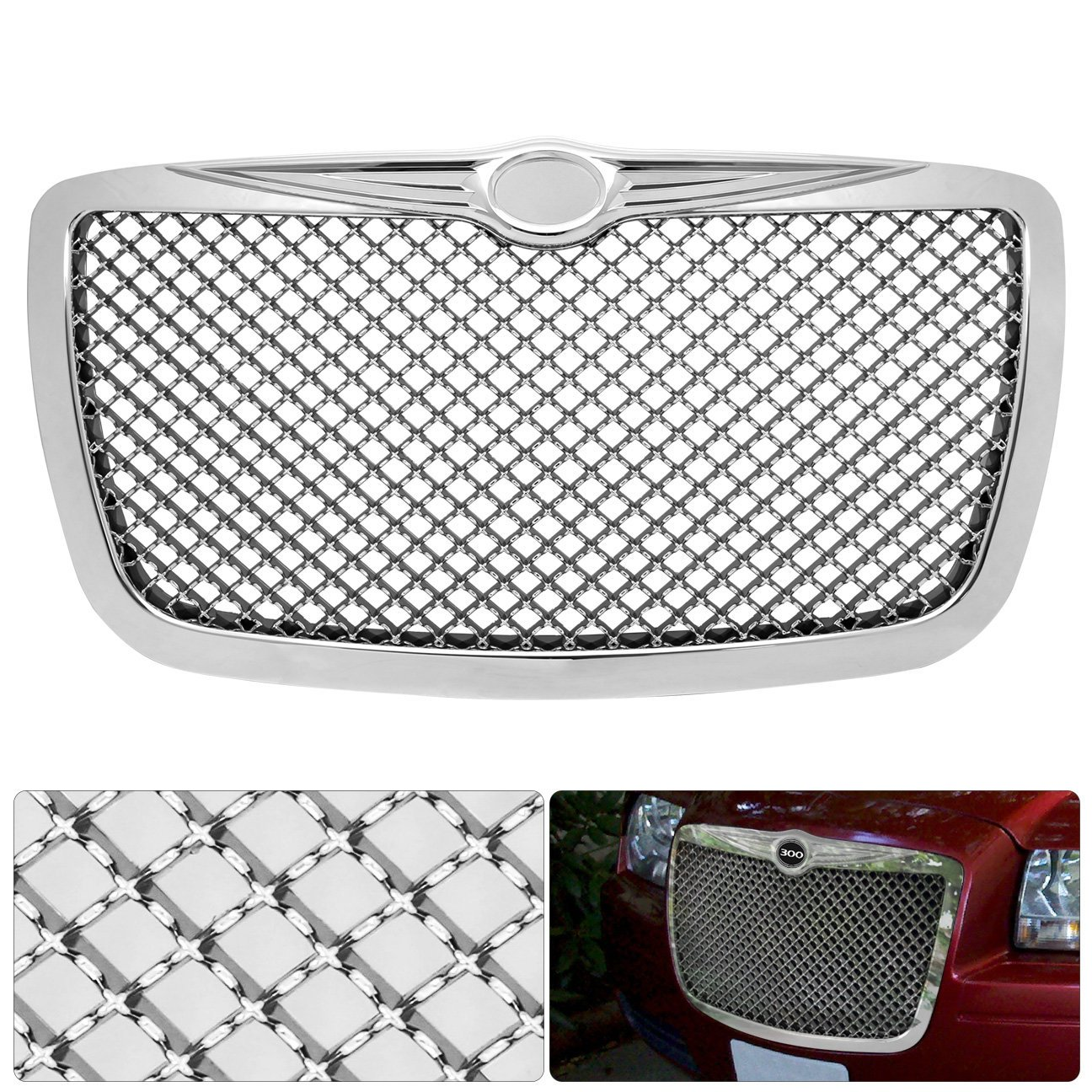 For Chrysler 300 300C Badgeless Chrome Diamond Mesh Front Hood Bumper Grille Grill Replacement Upgrade AJP Distributors