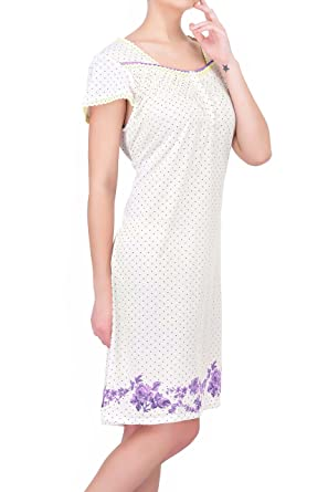 77a04967c1 Ezi Women s Floral Flutter Sleeve Graceful Cotton Nightgown by at ...