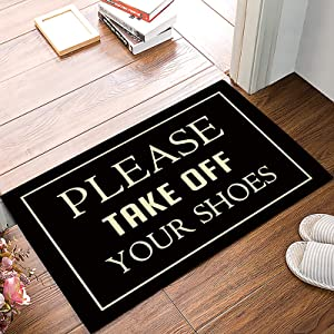 """LBDecor Entrance Door Mat, Funny Quotes Low Profile Decor Doormat, Please Take Off Your Shoes Non-Slip Carpet Rugs with Felt Decorative for Home/Indoor/Outdoor - 20"""" x 32"""",W x L"""