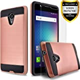BLU Life One X2 Case, [Not Fit BLU Life One X2 Mini] Circlemalls 2-Piece Style Hybrid Shockproof Hard Cover With [Premium Screen Protector] And Touch Screen Pen (Rose Gold)