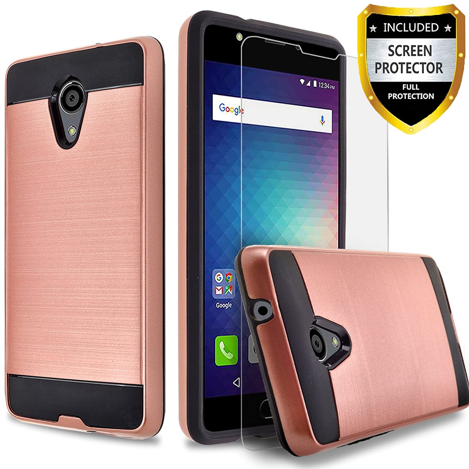 BLU Advance 5.5 HD Case, BLU Grand 5.5 HD Case, Circlemalls 2-Piece Style Hybrid Shockproof Hard Case Cover With [Premium Screen Protector] And Touch Screen Pen (Rose Gold)