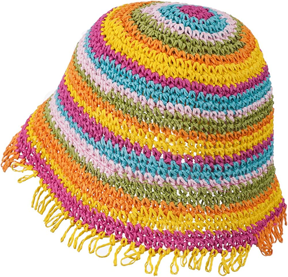 Bright Stripes W20S17F Jeanne Simmons Girls Bucket Shaped Hat with Fringe Edge