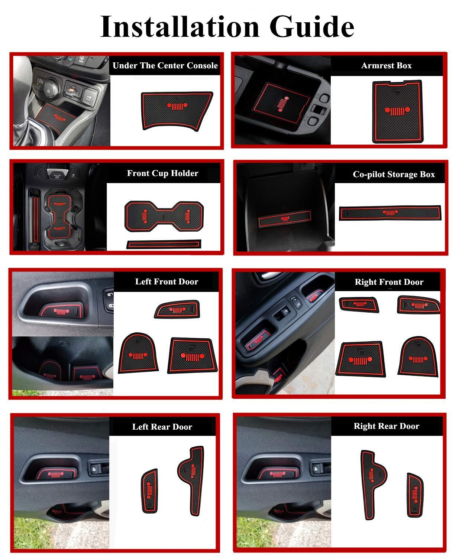 Glow in the dark YOCTM For Jeep Renegade 2018 2019 Interior Mats Accessories Cushion Non-Slip Gate Slot Pad Cup Mats Renegade Interior Door Slot Pad Mat Waterproof White White