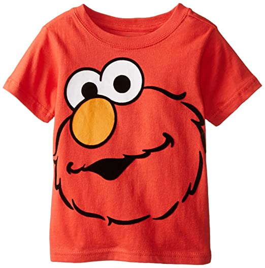 Sesame Street Little Boys Short Sleeve Elmo Face T Shirt Red