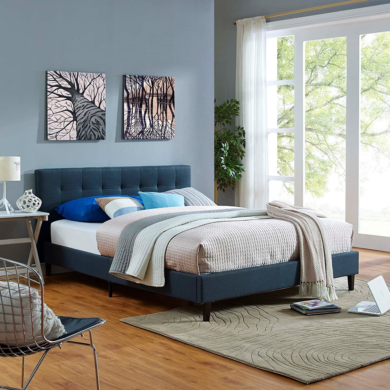 Modern Contemporary Urban Design Bedroom Full Size Platform Bed Frame, Navy  Blue, Fabric Wood