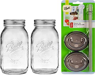 product image for 2 Glass Mason Drinking Jars with 2 Sip and Straw Lids Regular Mouth (2, 32oz)