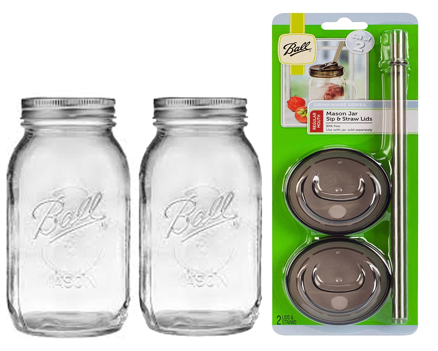 2, 16oz Regular Mouth 2 Ball Glass Mason Drinking Jars with 2 Sip and Straw Lids