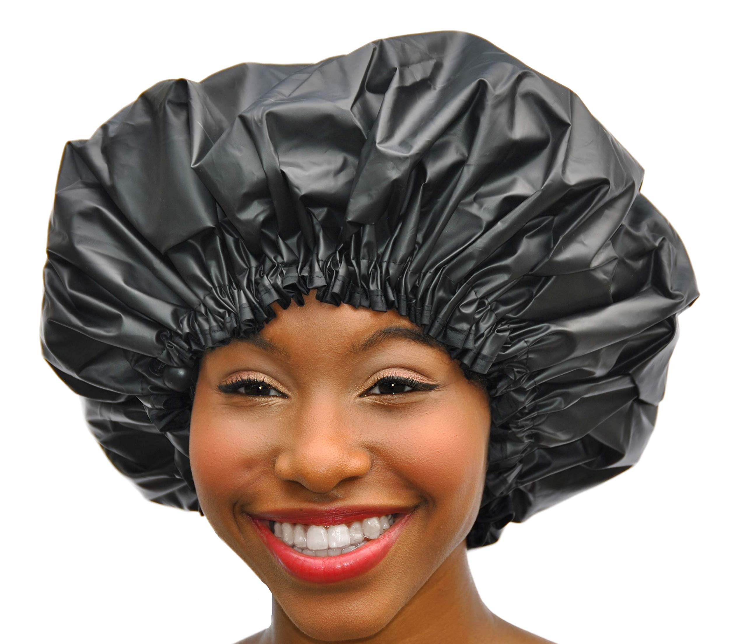 XL Shower Cap - Adjustable & WaterProof By Simply Elegant: The Satin Dream Jumbo ShowerCap X-Large and Extra Cute - The Best in Long Hair Products & Protection (Patent Pending)