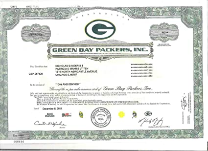 a24d6069 2011 GREEN BAY PACKERS COMMON STOCK STOCK CERTIFICATE COPY RARE IN GREAT  SHAPE! 100th ANNIVERSARY