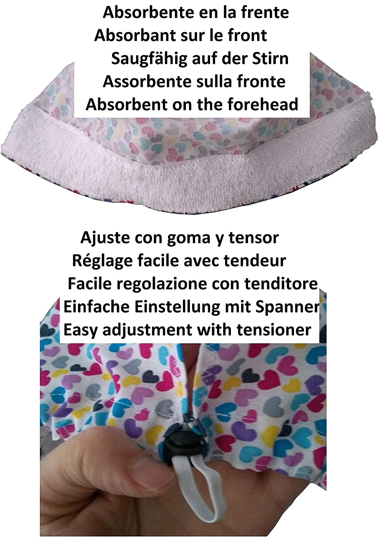 Dentiste Absorbeur frontal r/églable Personnalis/é avec nom en option Coiffe chirurgicale Calot Coeurs cheveux courts V/ét/érinaire Chirurgien Cuisine