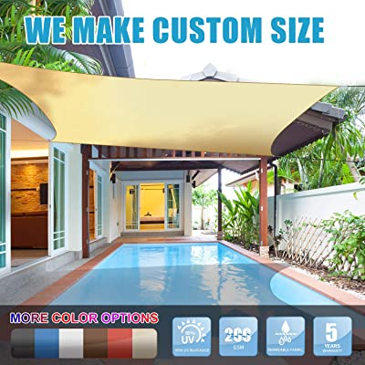 Amgo 12' x 12' Beige Square Sun Shade Sail Canopy Awning, 95% UV Blockage, Water & Air Permeable, Commercial and Residential, for Patio Yard Pergola, 5 Years Warranty (Available for Custom Sizes) : Garden & Outdoor