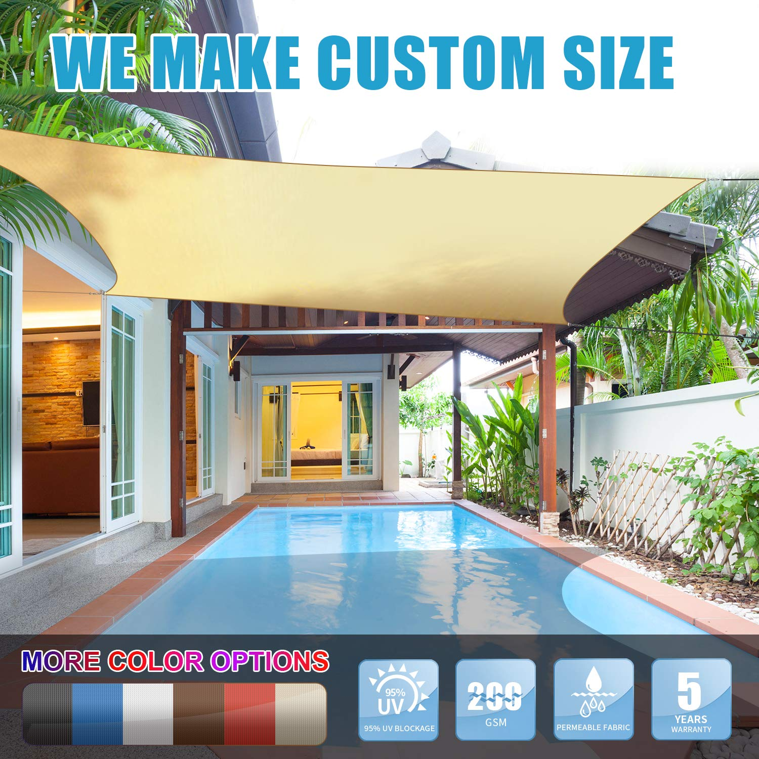 Amgo 16' x 16' Beige Square Sun Shade Sail Canopy Awning, 95% UV Blockage, Water & Air Permeable, Commercial and Residential, for Patio Yard Pergola, 5 Years Warranty (Available for Custom Sizes) by Amgo