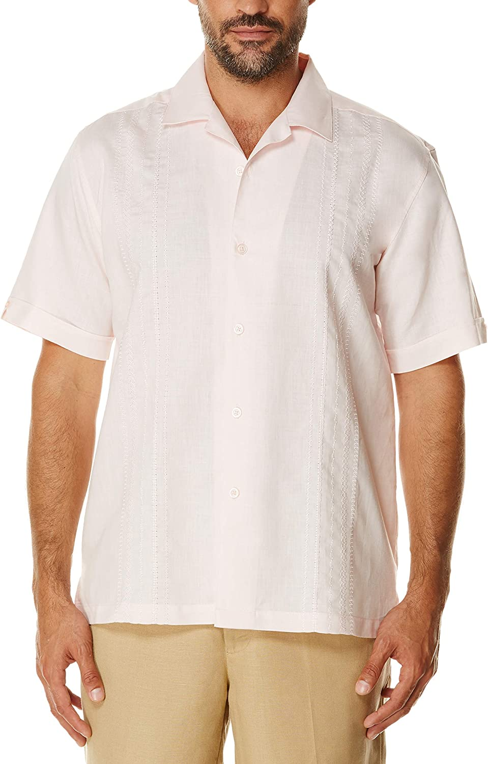 Cubavera Men's Short Sleeve Cuban Camp Shirt with Embroidered Panels