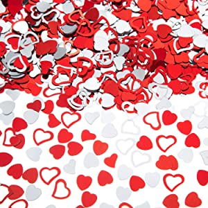 EMAAN Heart Confetti for Table Wedding Birthday Party Decoration,Small Confetti Metal Foil Love Sequins,Diameter 10mm(Silver Red)