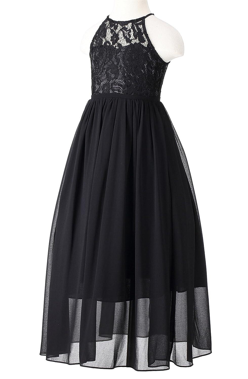 59a476a5b Amazon.com: Happy Rose Girls Lace Party Wedding Long Chiffon Junior  Bridesmaid Dress: Clothing