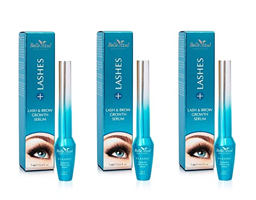 Amazon.com : Belle Azul +Lashes Growth Serum - Longer, Thicker, Fuller Lashes & Enhanced Brows with Castor Oil - Conditioning Hair Growth Treatment 7 ml.