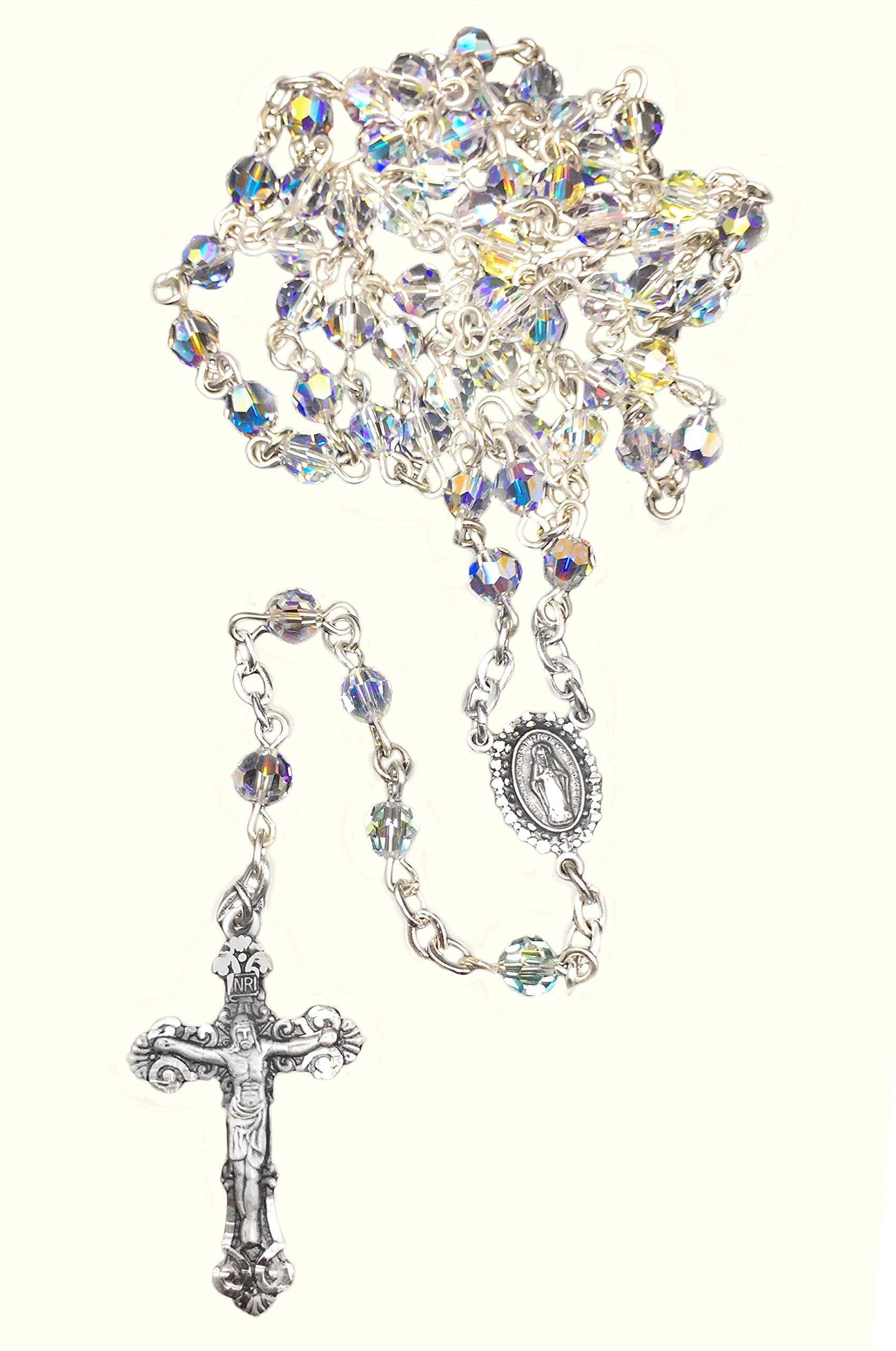 Swarovski Aurora Borealis Sterling Silver Rosary by Christian Brand