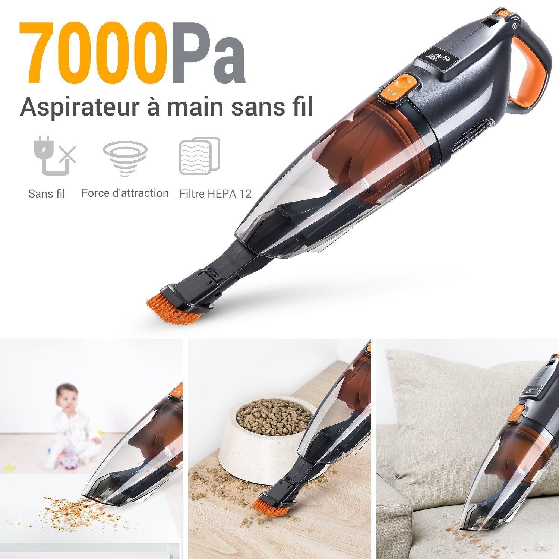PUPPYOO WP709 Aspirateur /À Main et Voiture Aspirateur de Table sans Fil Cyclonique Puissant