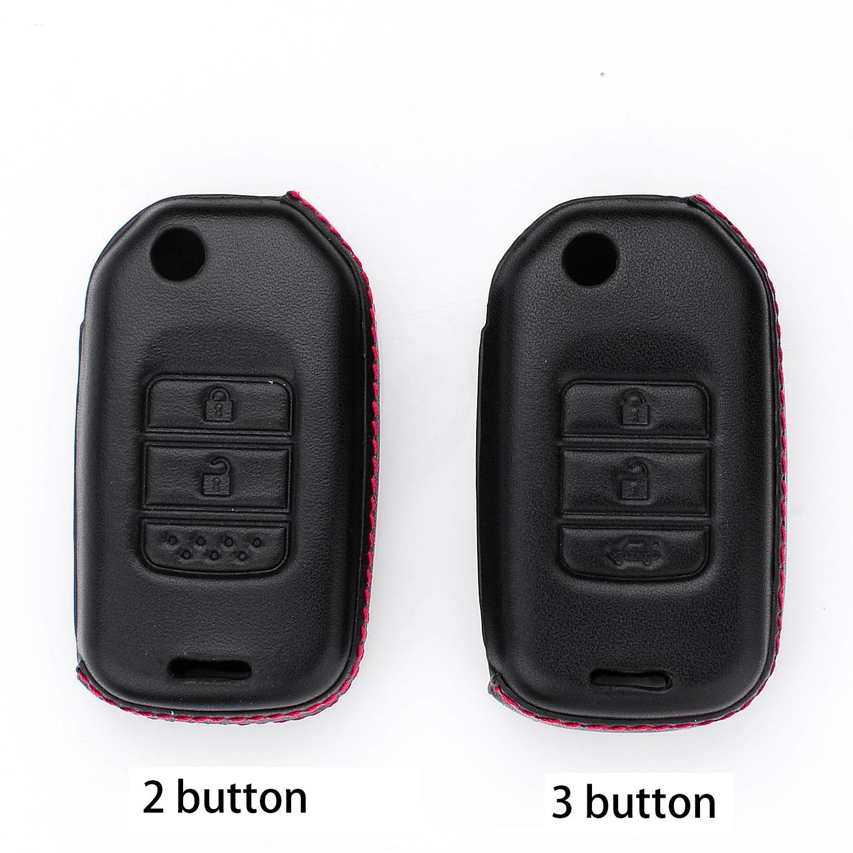 2 Buttons Black M.JVisun Key Covers For Car Keys Honda Genuine Leather Key Fob Cover For Honda 2//3//4 Buttons Smart Key Leather Fob Case For Men Women With Key Rings Keychain Holder Metal Hook