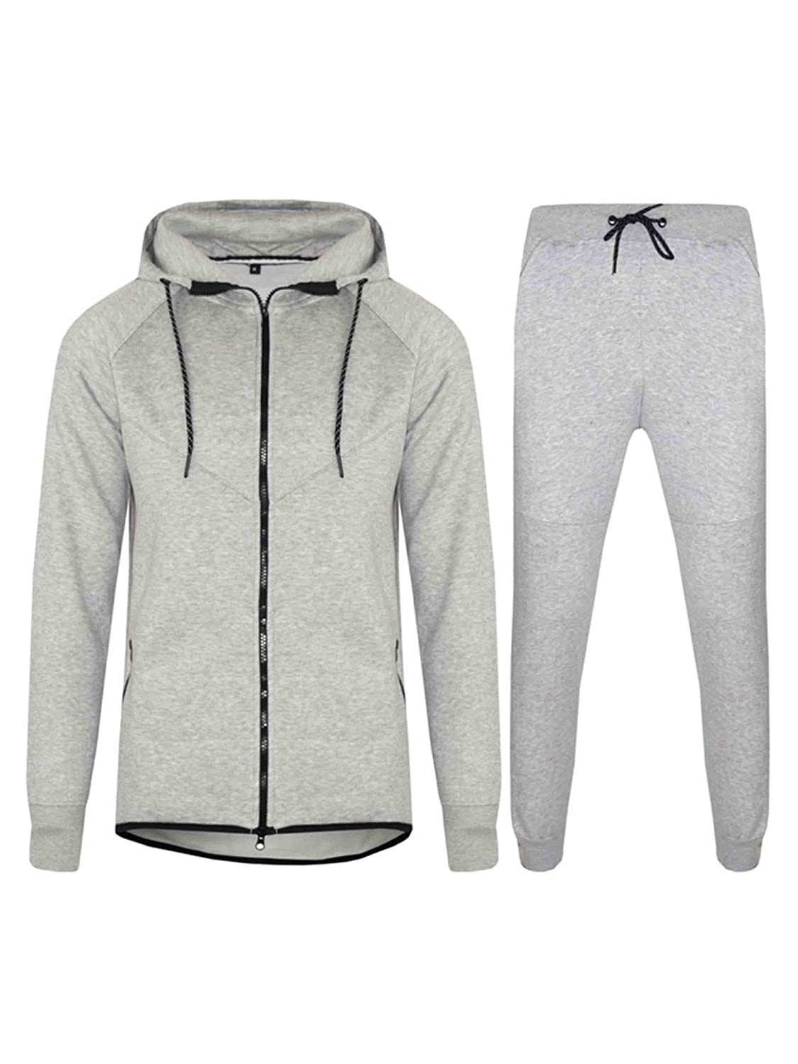 Men Tracksuit Set Fleece Hoodie Bottom Jogger Kids Contrast Cord Gym Active wear Love My Fashions
