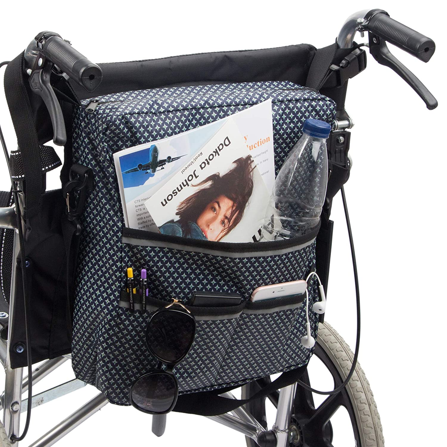 Wheelchair Bag by Pacmaxi - Wheelchair Backpack Bag with Reflective Tape - Wheelchair Accessories Storage Bag - Walker Accessible Pouch and Pockets for Unisex Handicap Elderly (Navy Blue)